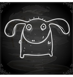 Monster with floppy ears drawing on chalk board vector