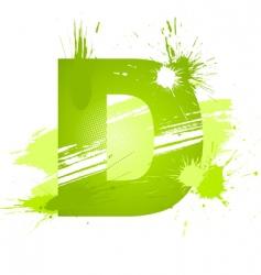 paint splashes font letter d vector image