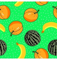 watermelon apricots and banan pattern vector image