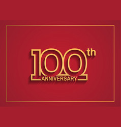 100 anniversary design with simple line style vector
