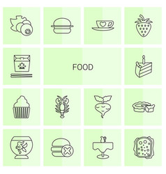 14 food icons vector