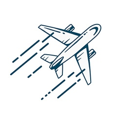 airplane flying right up leaving a trail vector image