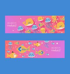 Aquarium banners with fish jellyfish octopus vector