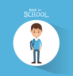 Back to school student boy blue sweater backpack vector