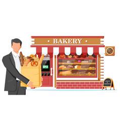 Bakery shop building facade with man customer vector