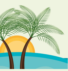 beach landscape with trees palms scene vector image