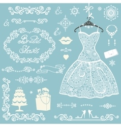 Bridal shower decoration setwinter wedding vector