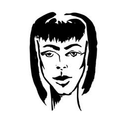 brush grunge style simple portrait ink handmade vector image