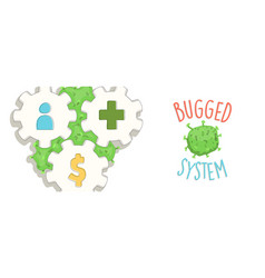 bugged system concept for coronavirus crisis vector image