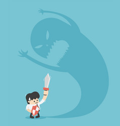 Businessman trying to fight with monster shadow vector