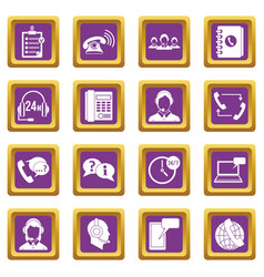 call center symbols icons set purple vector image vector image