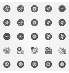 Car wheel icons set vector
