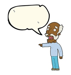 Cartoon scared old man pointing with speech bubble vector