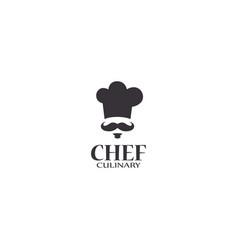 chef mustache cook logo icon hat toque chefs hat vector image