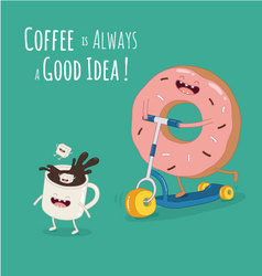 coffee donut kicks cooter vector image