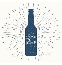 Cold beer hipster vintage label vector