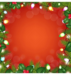 Colorful Bulb Garland With FirTree vector image