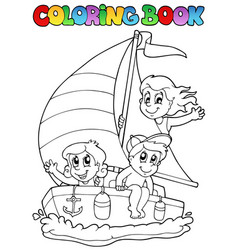 coloring book with yacht and kids vector image