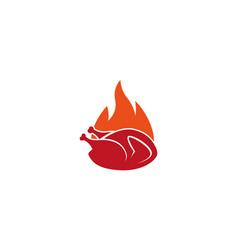creative hot chicken fire logo design symbol vector image