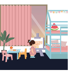 Cute kid in painting in his her bedroom play alone vector