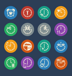 Daily routine business icons set for internet vector