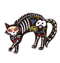 death day cat sugar skeleton isolate on a white vector image