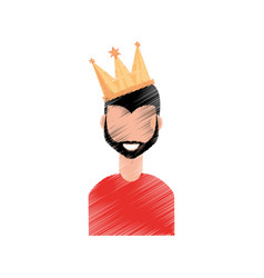 drawing guy party crown vector image