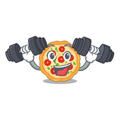 Fitness margherita pizza in a cartoon oven vector