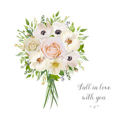 Flower floral bouquet of garden pink peach rose vector