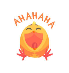 Funny laughing cartoon comic chicken with phrase vector