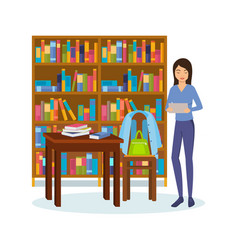girl with books and tablet is engaged in library vector image