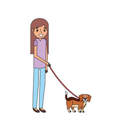 girl with little beagle dog vector image
