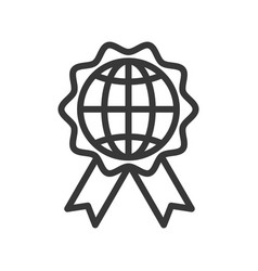 Globe or planet earth icon on badge vector