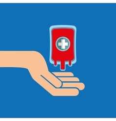 hands with bag blood donation medicine icon vector image