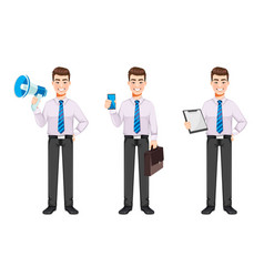 Handsome business man set of three poses vector