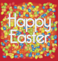 happy easter background with lots of eggs and text vector image