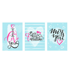 happy valentines day celebration greeting card set vector image