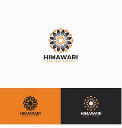 himawari - sun flower logo template vector image
