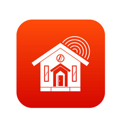 House icon digital red vector