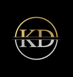 initial kd letter logo design abstract letter kd vector image