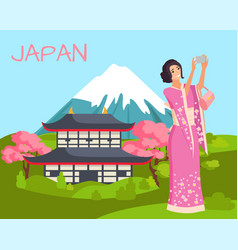japan landscape woman in pink kimono dress vector image
