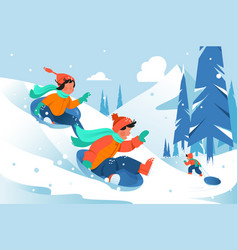 Kids with ice floe ride down the hill in forest vector