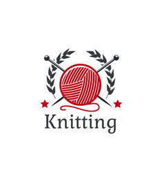Knitting icon wool yarn clew needles vector
