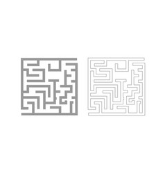 Labyrinth maze conundrum grey set icon vector