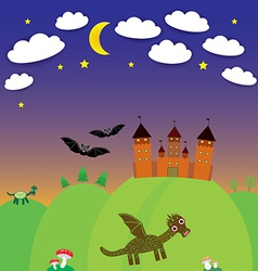 Landscape with castle wizard Cartoon Dragon bats vector