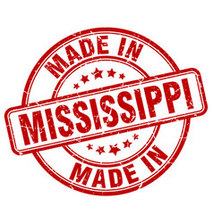 made in mississippi red grunge round stamp vector image