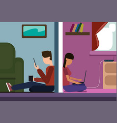 Man and woman sitting on floor at home chatting vector