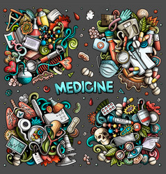 Medicine cartoon doodle designs set vector