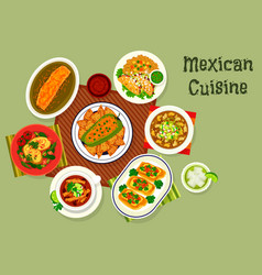 mexican cuisine icon with soup and sandwiches vector image