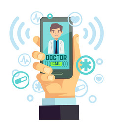 mobile doctor personalized medicine consultant on vector image